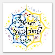 "Down-Syndrome-Lotus-2009 Square Car Magnet 3"" x 3"""