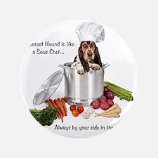 "Basset Hound Sous Chef 3.5"" Button"