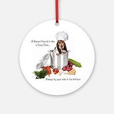 Basset Hound Sous Chef Round Ornament