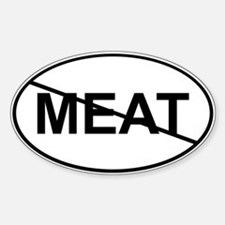 No Meat Sticker (White Oval)