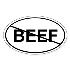 No Beef Sticker (White Oval)