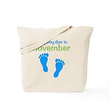 bluefeet_babyboyduein_november_green Tote Bag