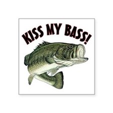 "Kiss My Bass Square Sticker 3"" x 3"""