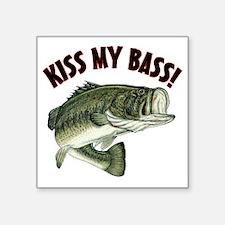 """Kiss My Bass Square Sticker 3"""" x 3"""""""