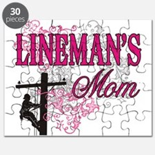 linemans mom white shirt with pole Puzzle