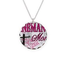 linemans mom white shirt wit Necklace