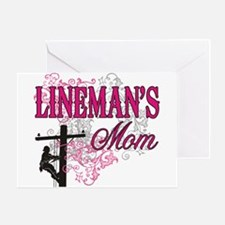 linemans mom white shirt with pole Greeting Card