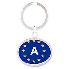 sticker A blue Oval Keychain