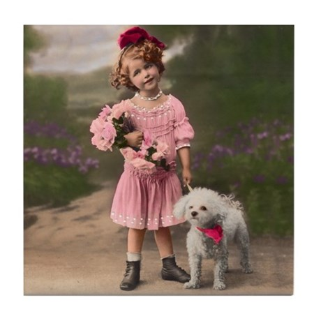 1920's Child & Bichon - Tile