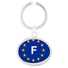sticker F blue Oval Keychain
