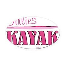 girlieskayakmagnet Oval Car Magnet