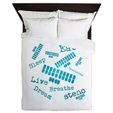 Dream steno - blue Queen Duvet