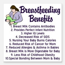 "breastfeedingbenefits Square Car Magnet 3"" x 3"""