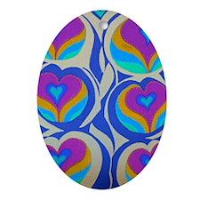 Vining Hearts Violet 5x7 Oval Ornament