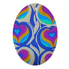 Vining Hearts Violet 5x8 Oval Ornament