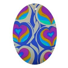 Vining Hearts Violet 23x35 Oval Ornament