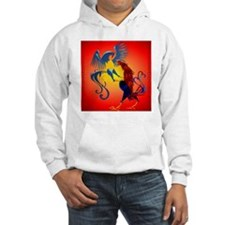 Two Colorful Fighting Roosters_p Hoodie