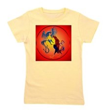 Two Colorful Fighting Roosters circle Girl's Tee