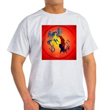 Two Colorful Fighting Roosters circl T-Shirt