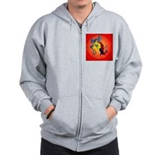 Two Colorful Fighting Roosters circle Zip Hoodie