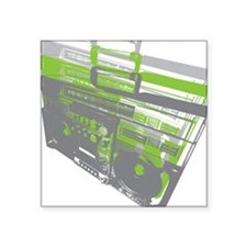 """BoomBox_GrnGry Square Sticker 3"""" x 3"""""""