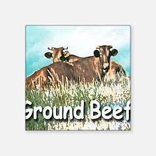 "GROUND BEEF tile Square Sticker 3"" x 3"""