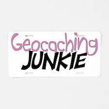 geocaching junkie-pink Aluminum License Plate