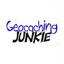 geocaching junkie-Blue Aluminum License Plate