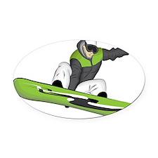 SnowboarderPocket Oval Car Magnet