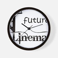 future lineman1_black Wall Clock