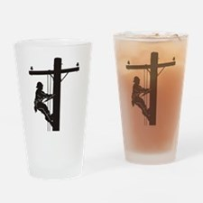lineman silhouette 1_black Drinking Glass
