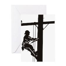 lineman silhouette 1_black Greeting Card