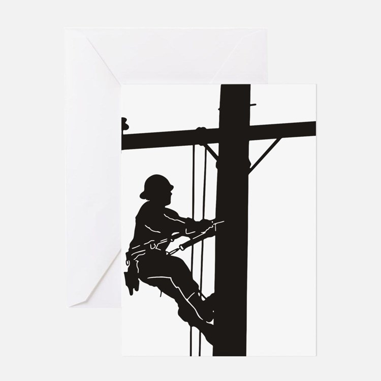 lineman silhouette 1_black Greeting Card