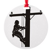 lineman silhouette 1_black Ornament