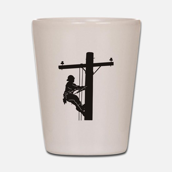 lineman silhouette 1_black Shot Glass