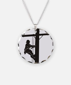 lineman silhouette 1_black Necklace