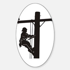 lineman silhouette 1_black Sticker (Oval)
