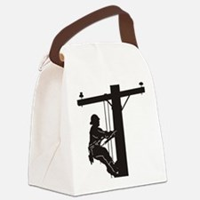 lineman silhouette 1_black Canvas Lunch Bag