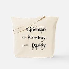 3 coyboy lineman daddy_black Tote Bag