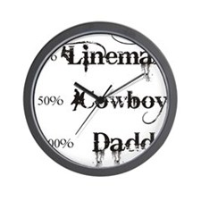 3 coyboy lineman daddy_black Wall Clock