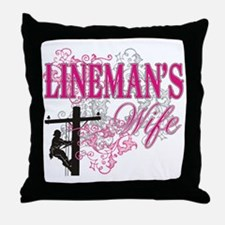 linemans wife3 white Throw Pillow