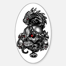 Dragon Skulls Oval Decal