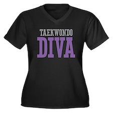Taekwondo DIVA Women's Plus Size V-Neck Dark T-Shi