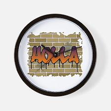 "Graffiti Style ""Holla"" Design Wall Clock"