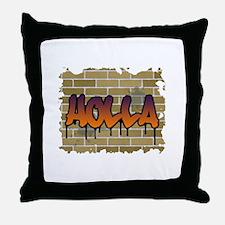 "Graffiti Style ""Holla"" Design Throw Pillow"