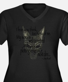 Jackalquotew Women's Plus Size Dark V-Neck T-Shirt