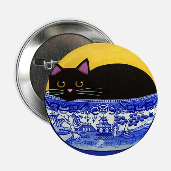 """Black CAT In Blue Willow Bowl 2.25"""" Button Pi"""