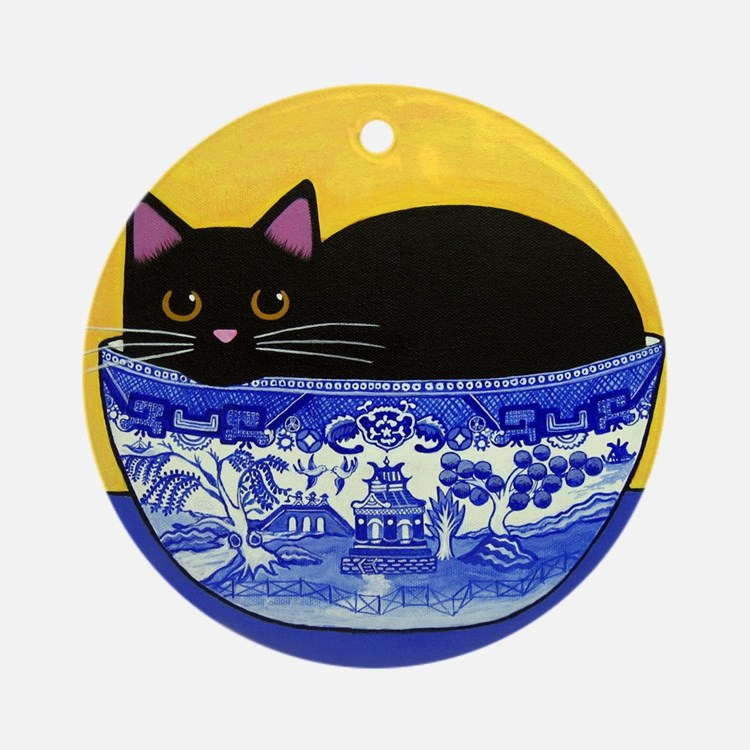 Black CAT Blue Willow Bowl Porcelain Ornament