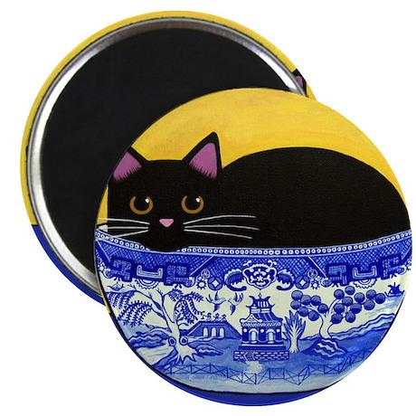 Black CAT in Blue Willow Bowl Folk ART Magnet