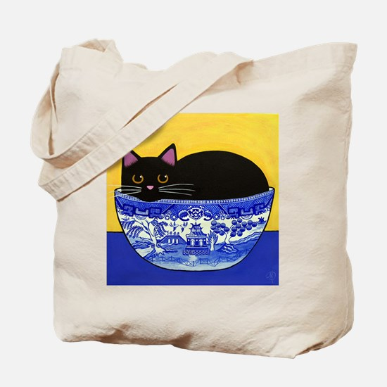Black CAT Blue Willow Bowl 2-Sided Tote Bag